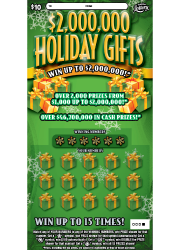 $2,000,000 Holiday Gifts Scratch-Off Ticket